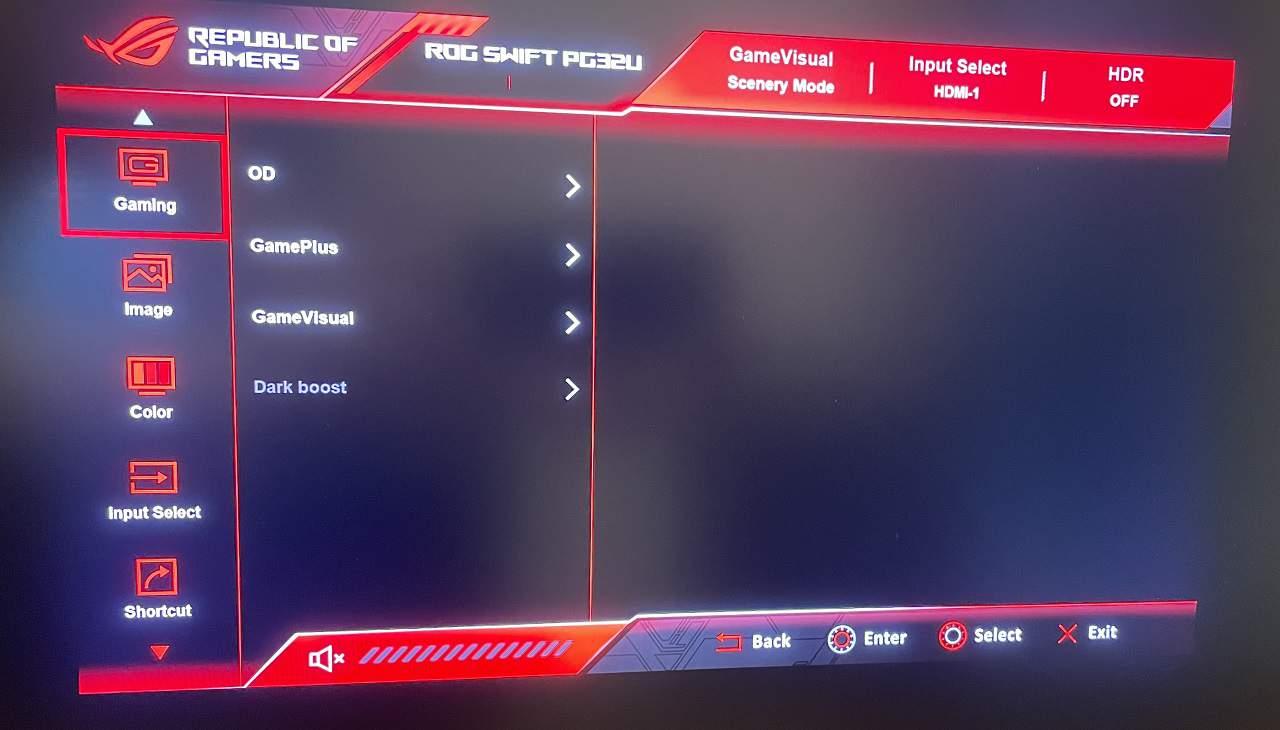 asus PG32UQX review menu